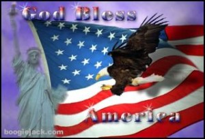God Bless America picture with American flag and eagle.